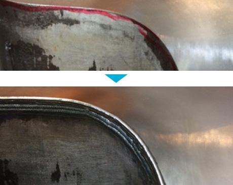 金型エッジ部分の肉盛溶接による補修
